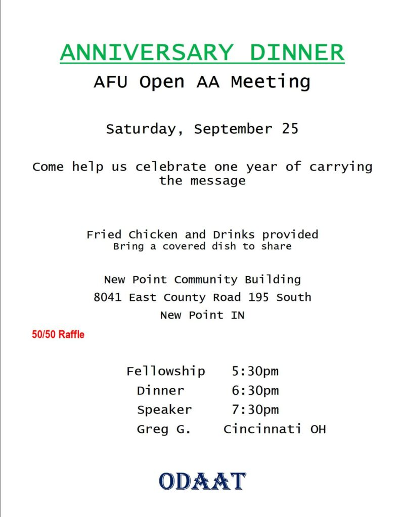 AFU Anniversary Dinner @ New Point Community Building | Greensburg | Indiana | United States